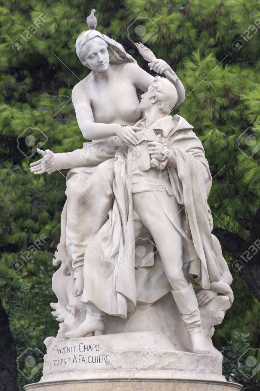 Detail from Invenit Chapu Sculpsit A Falcuiere statue at Athens, Greece. - 117032611