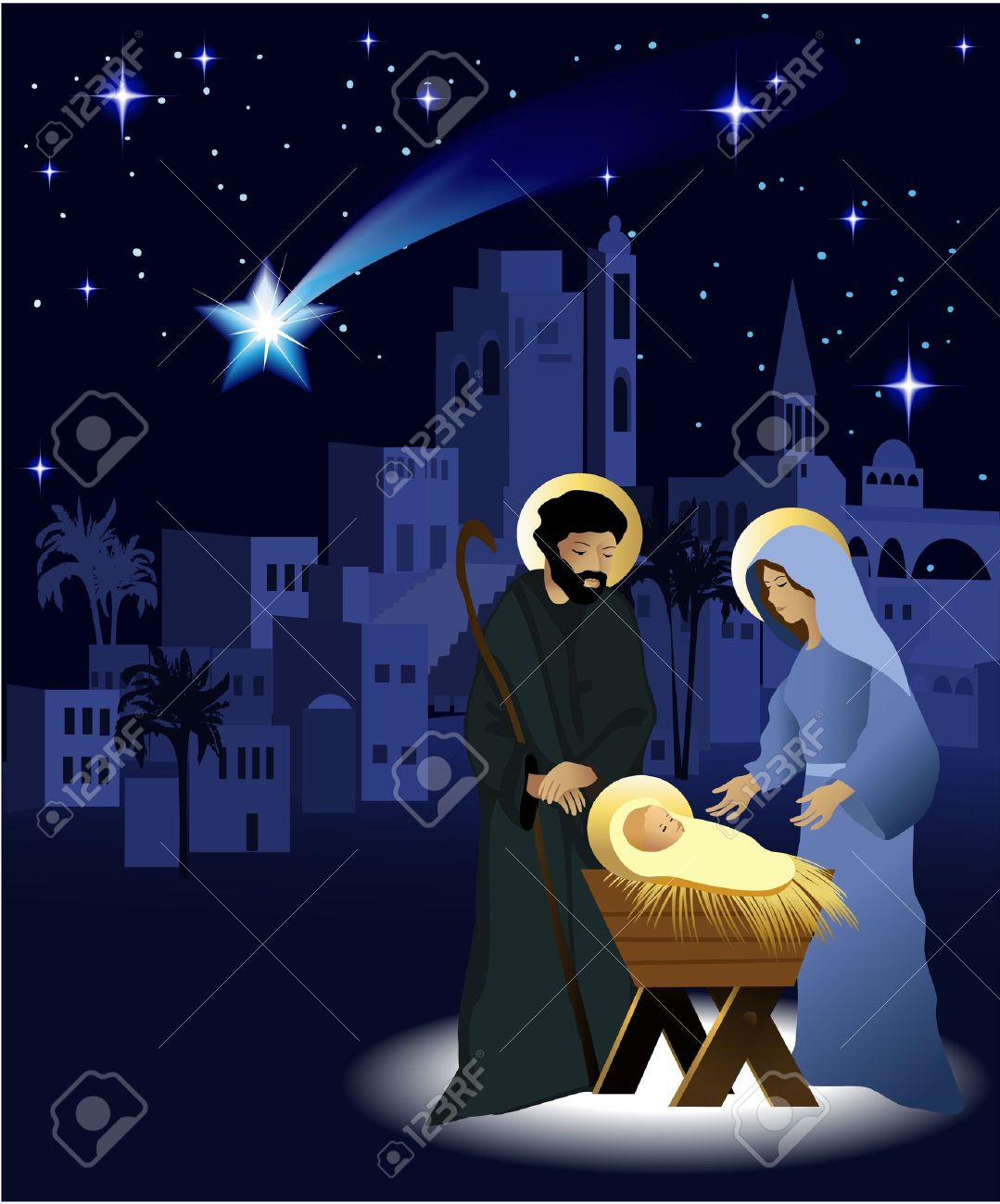 Christmas Nativity.Christmas Nativity Scene With Holy Family