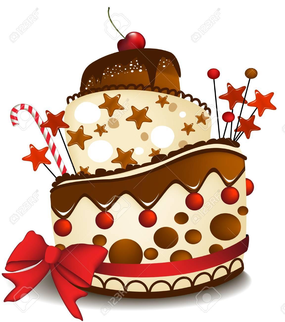 Big chocolate cake Stock Vector - 14093980