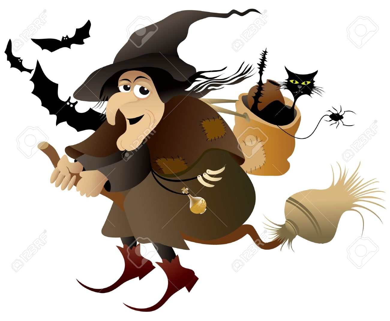 halloween flying witch stock vector 14093988