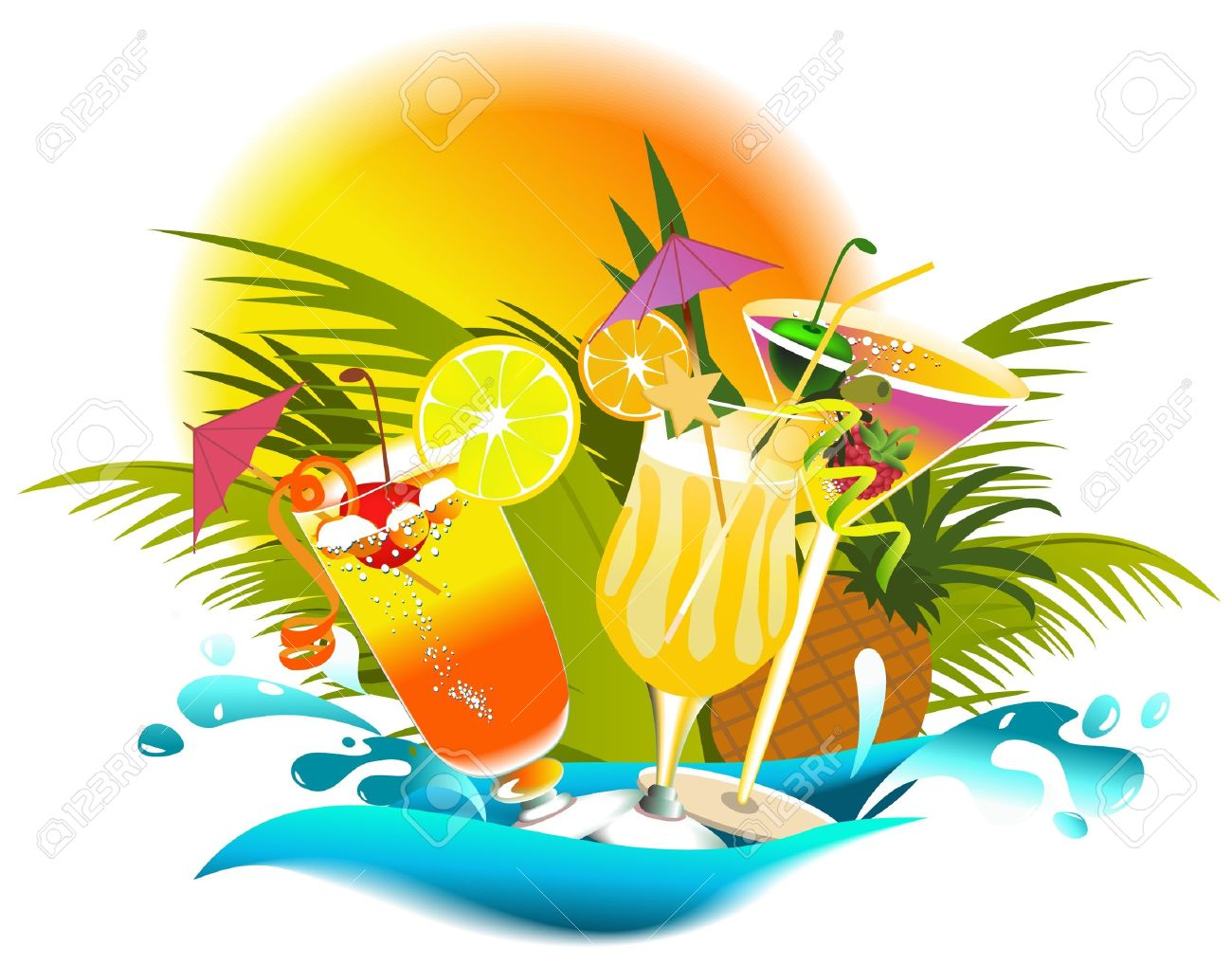 Tropical summer drinks - 14094015