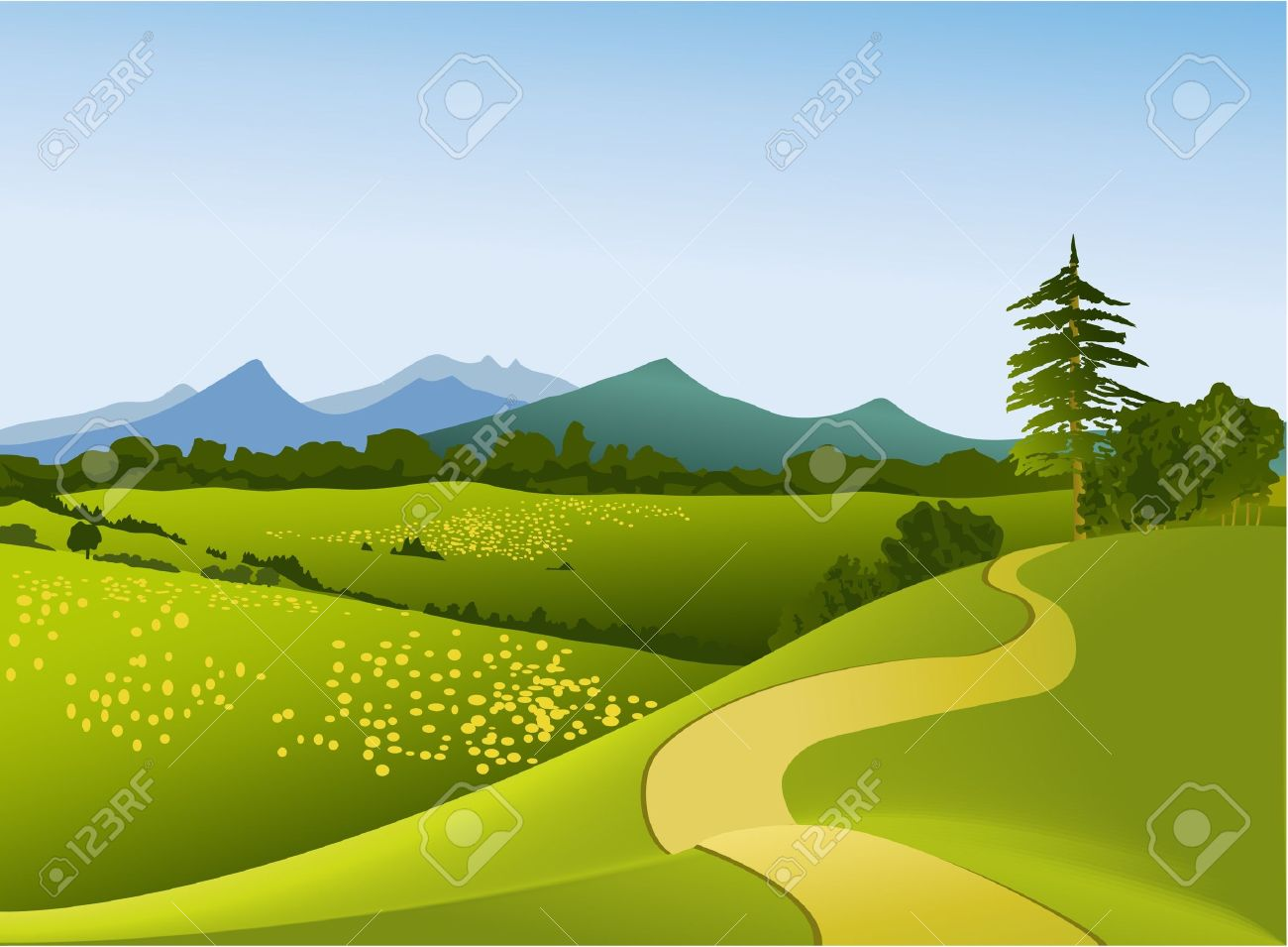 Mountain landscape with road - 14477234