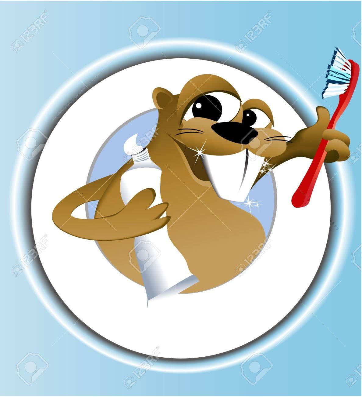 Beaver cleaning teeth Stock Vector - 15118460