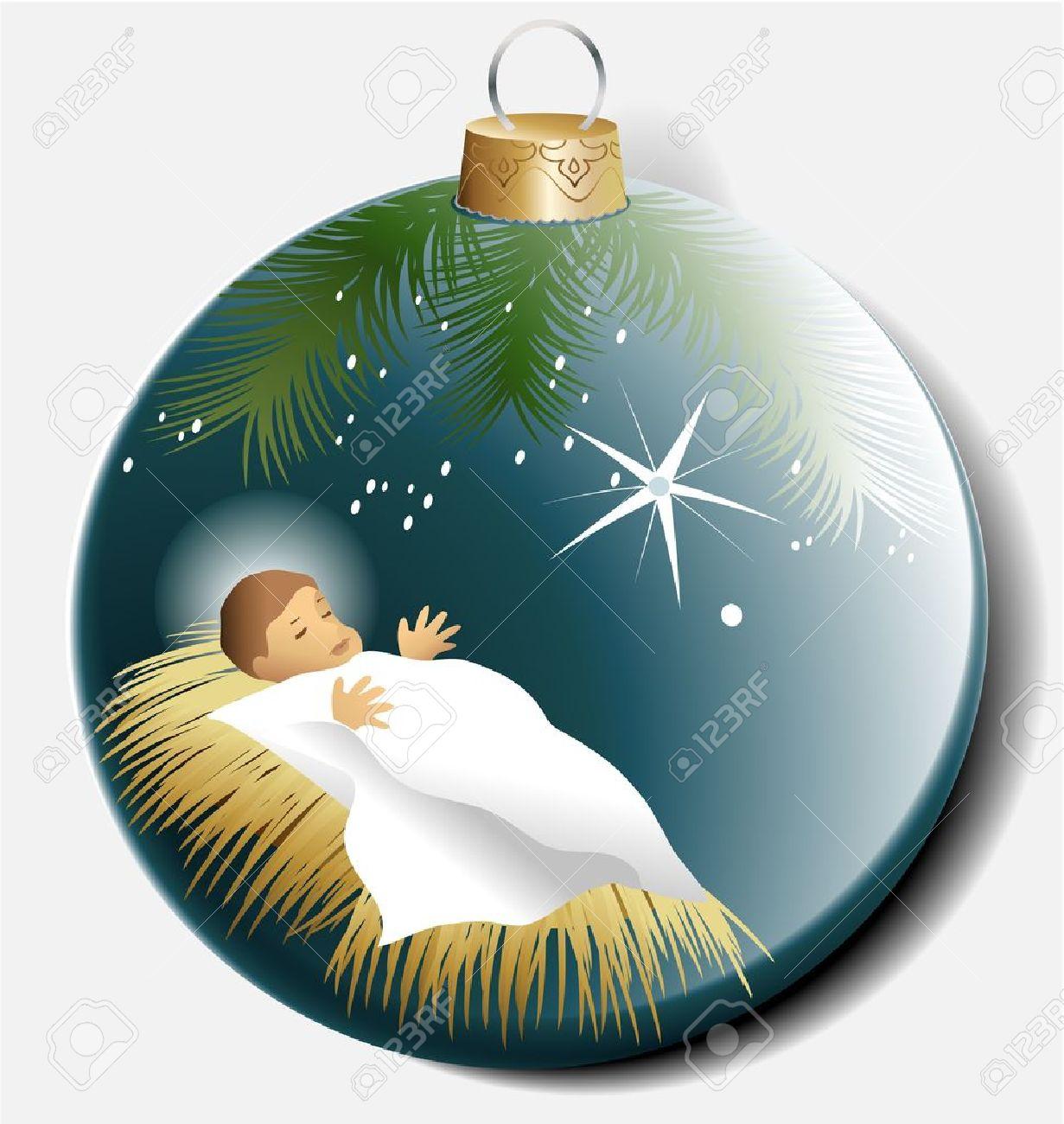Estremamente Pallina Di Natale Con Gesù Bambino Clipart Royalty-free, Vettori E  UT22