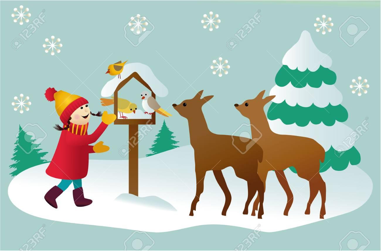 少女と森の動物と冬漫画イラスト ロイヤリティフリークリップアート