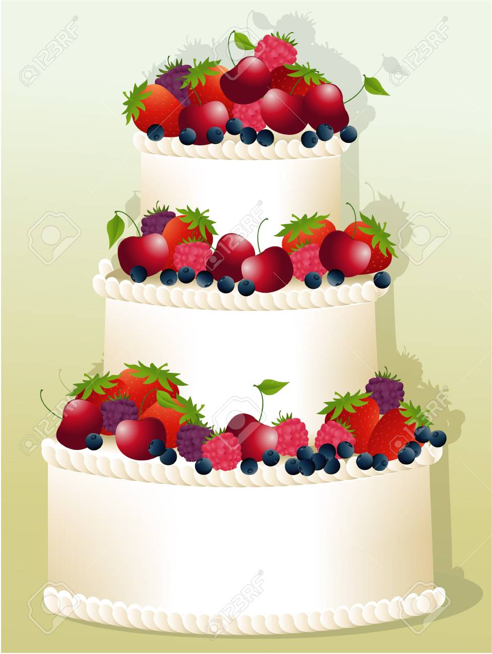 Big Birthday Cake With Fruits Stock Vector
