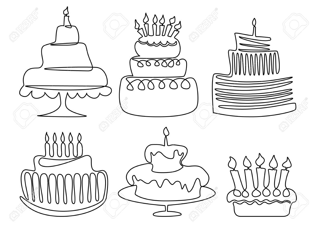 Birthday Cake One Line Drawing Royalty Free Cliparts Vectors And
