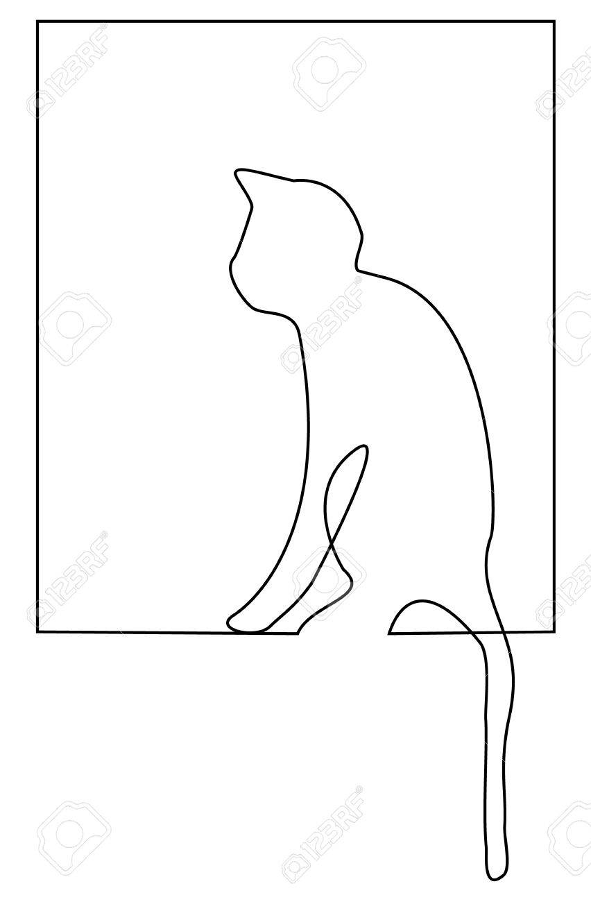 Cat One Line Drawing Royalty Free Cliparts Vectors And Stock