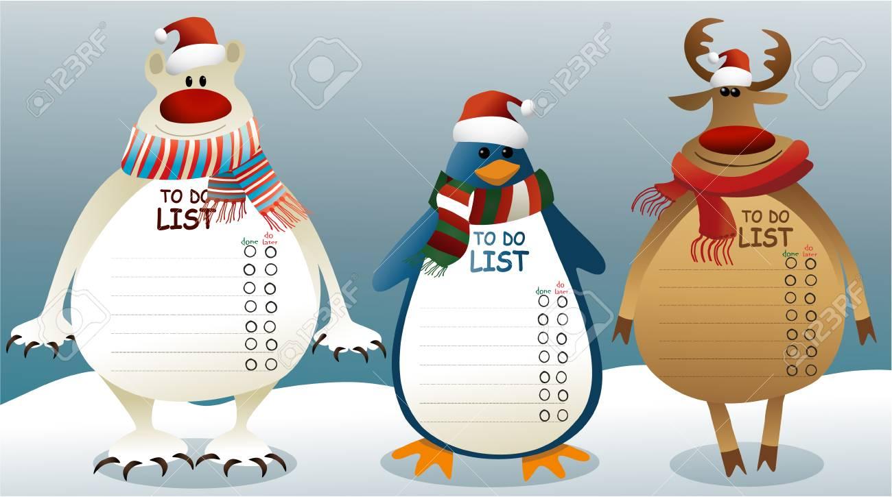 クマ、ペンギンやトナカイのベクトル イラスト リストにクリスマス。