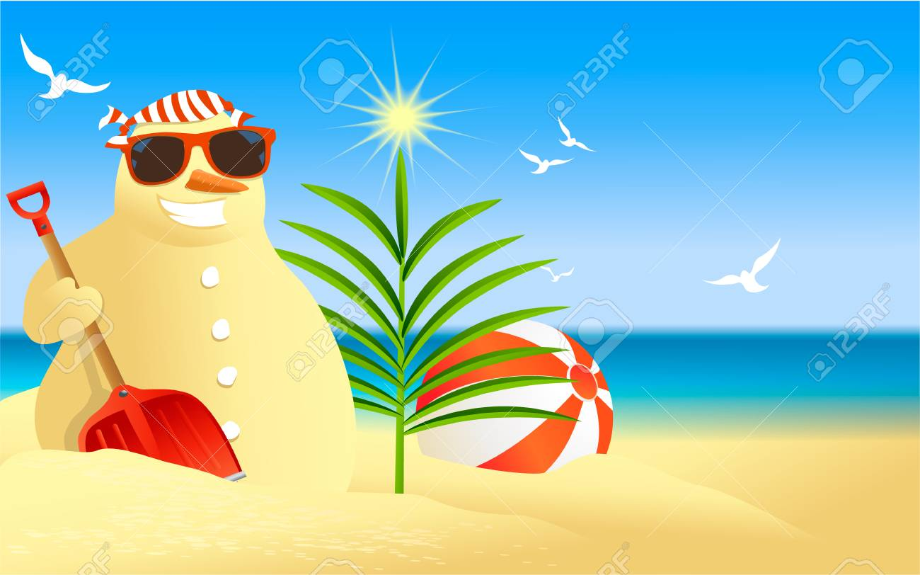 Tropical Christmas.Tropical Christmas Background With Snowman