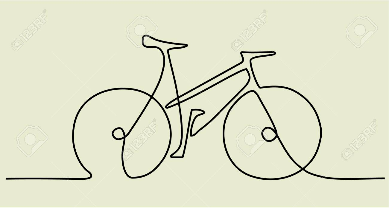 Abstract one line drawing with bike - 94375499