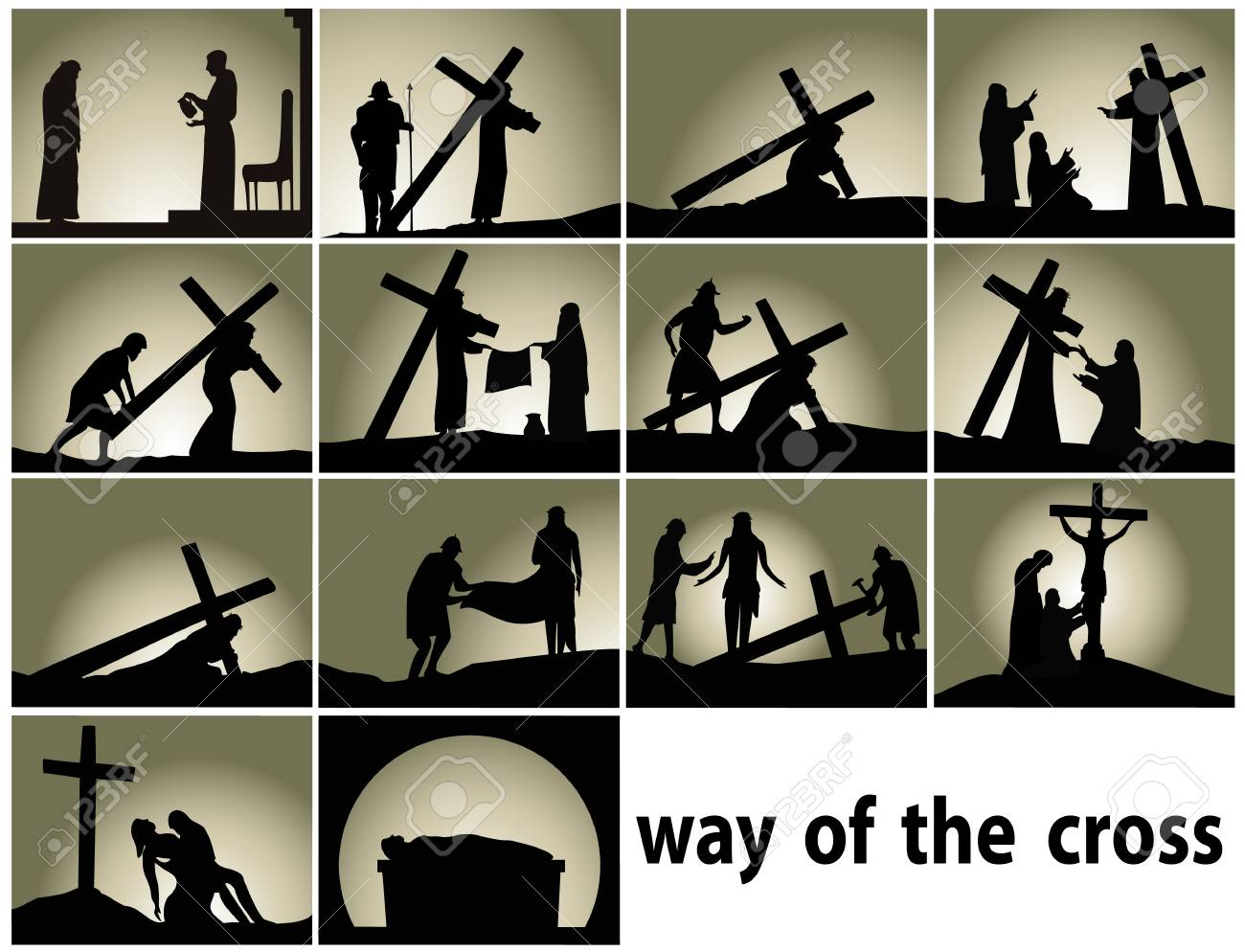 Abstract religious background with Way of the Cross stations - 95892882
