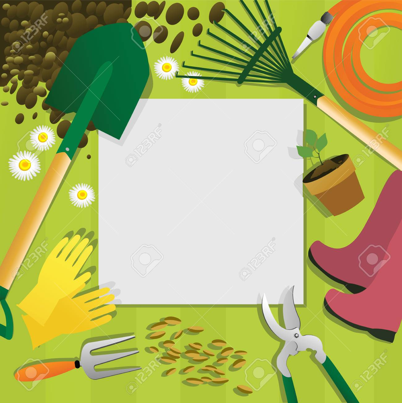 Gardening Background With Garden Tools Royalty Free Cliparts