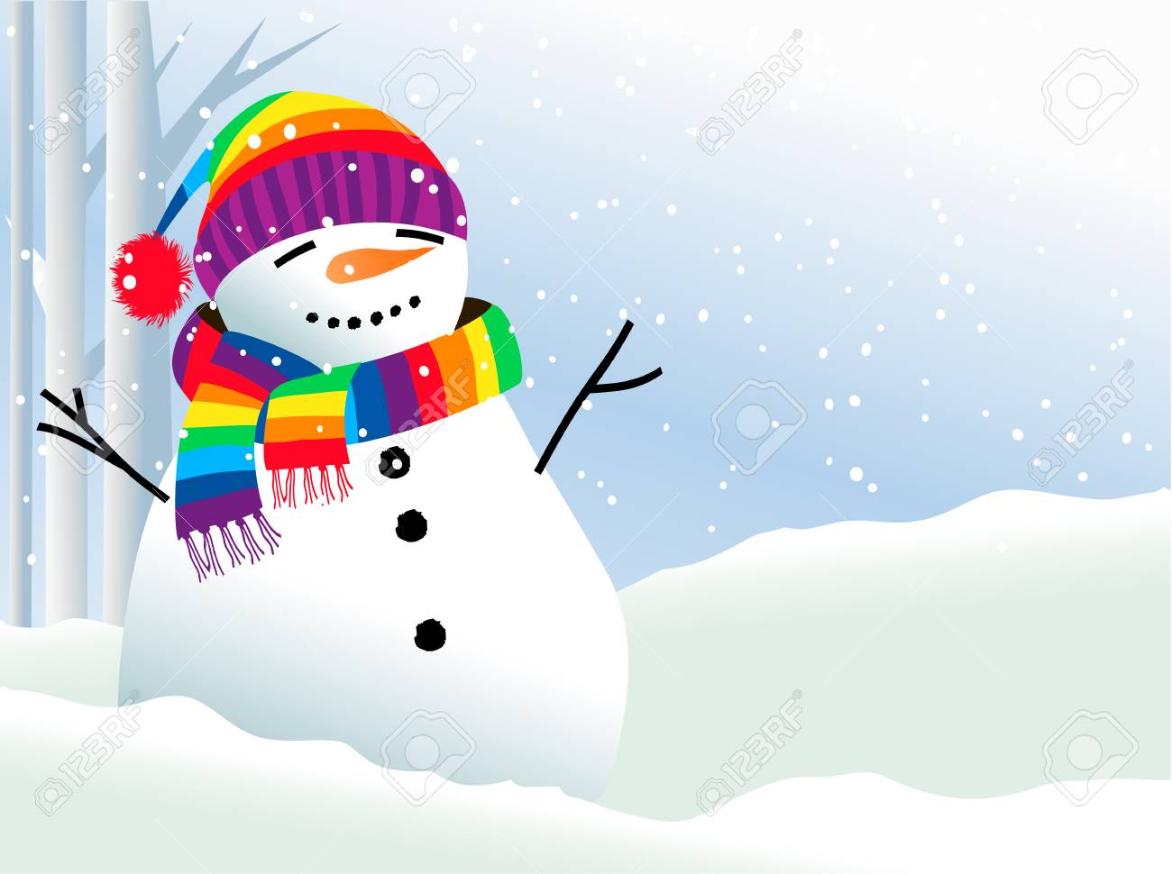 Christmas background with snowman in rainbow scarf - 110587977