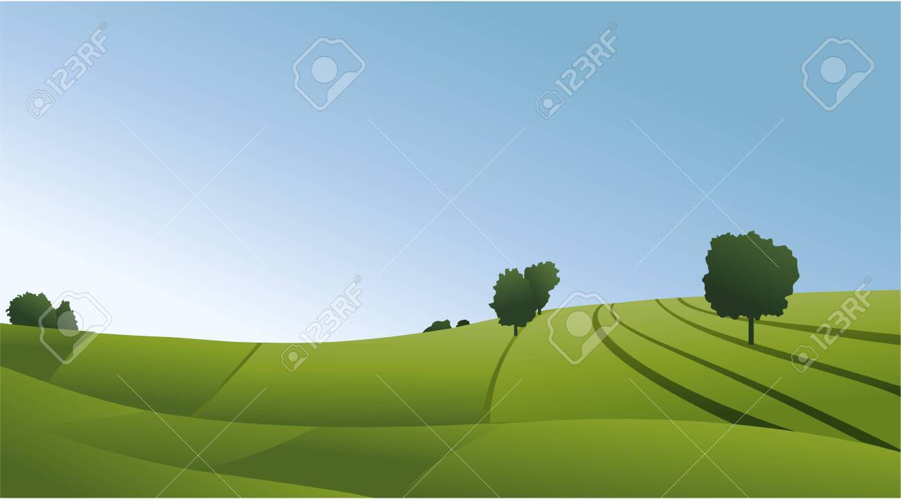 Rural landscape with green fields - 127100788