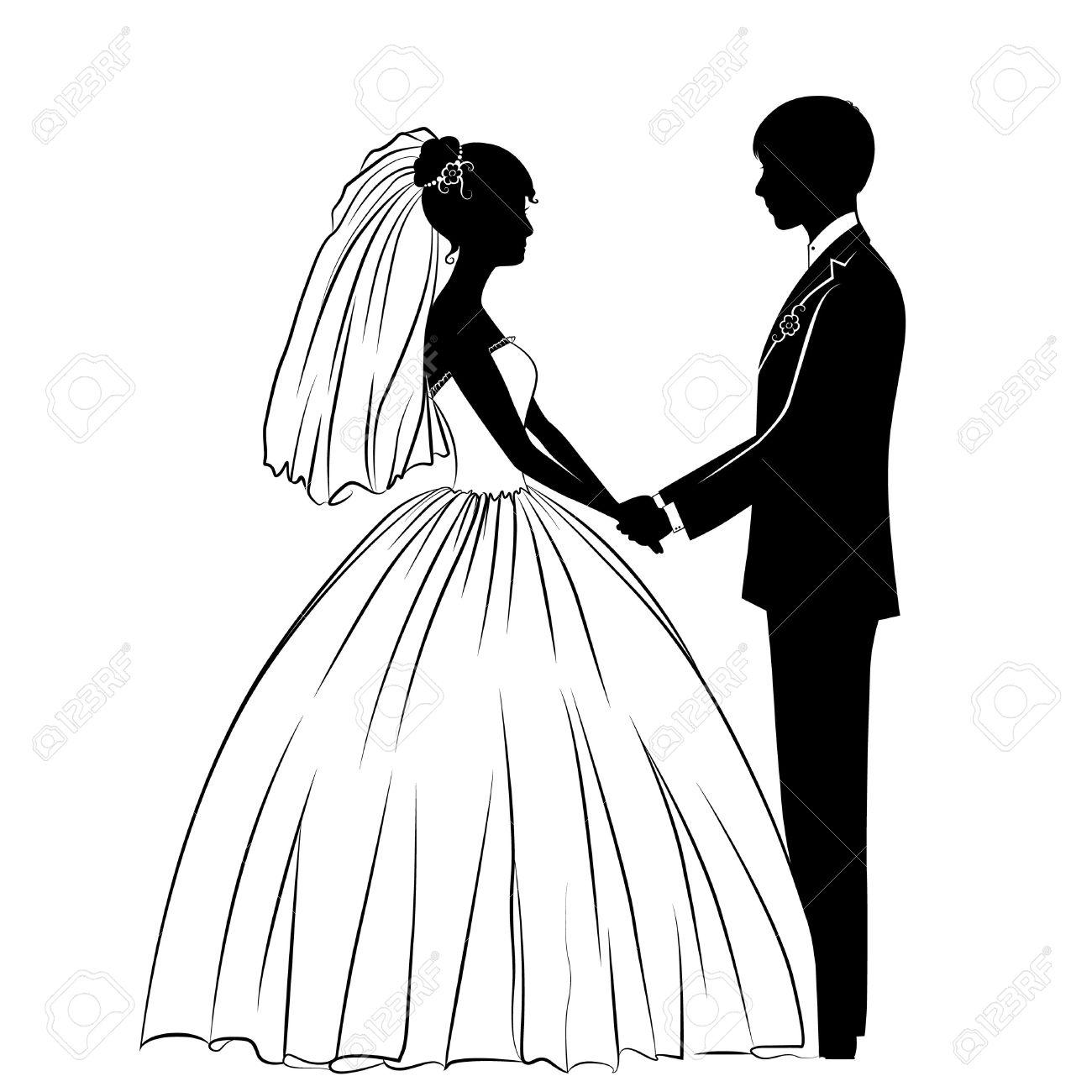 古典的なドレスで新郎新婦のシルエット