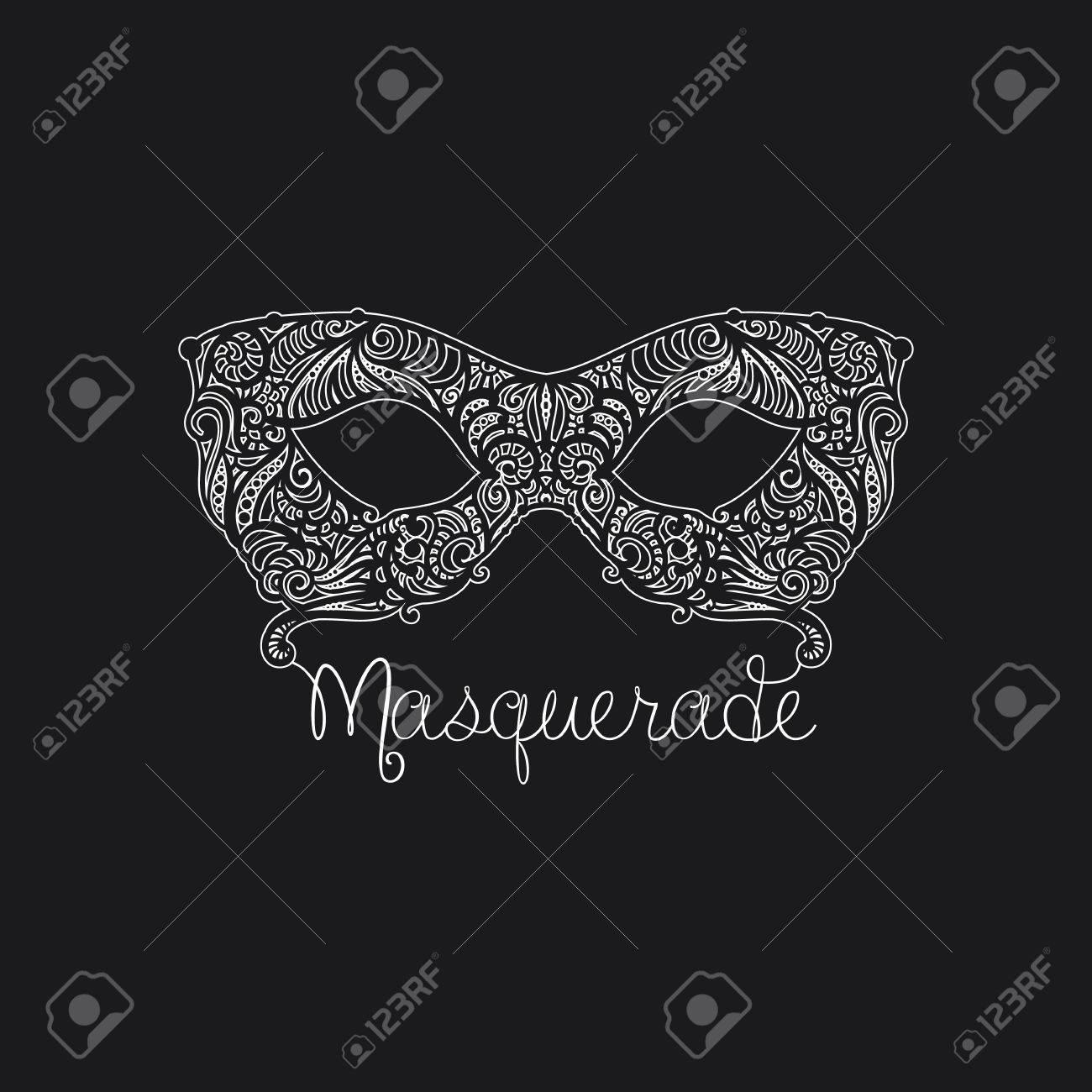 Monochrome Vector Masquerade Mask. Design Element For Cards ...