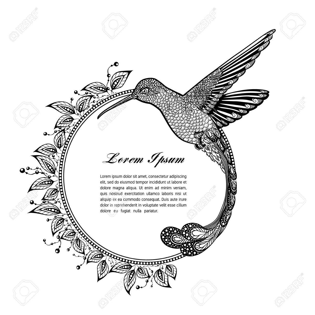 Kolibri Tattoo Psychedelisch Zentangle Art Vektor Frame Fur Text