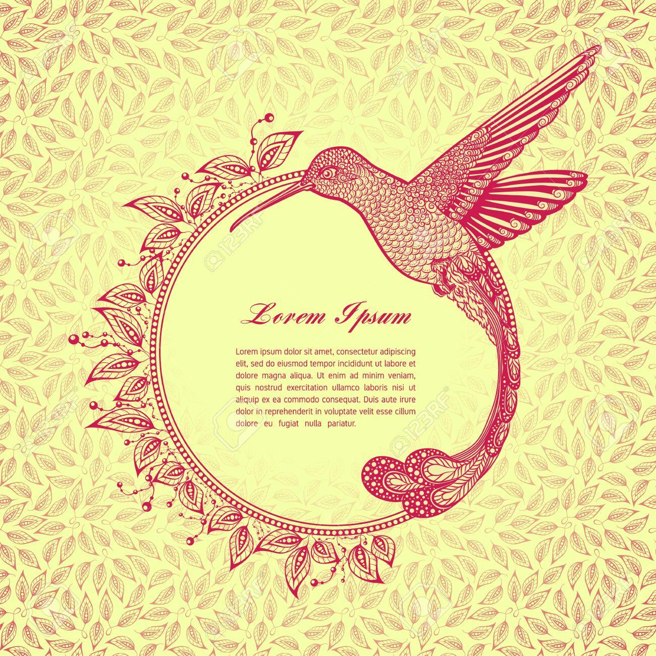 Hummingbird Tattoo. Zentangle Stil. Vector Rahmen Für Text ...