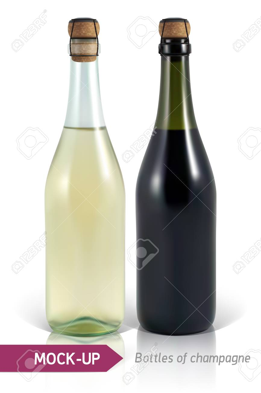 mockup realistic bottles of champagne on a white background with