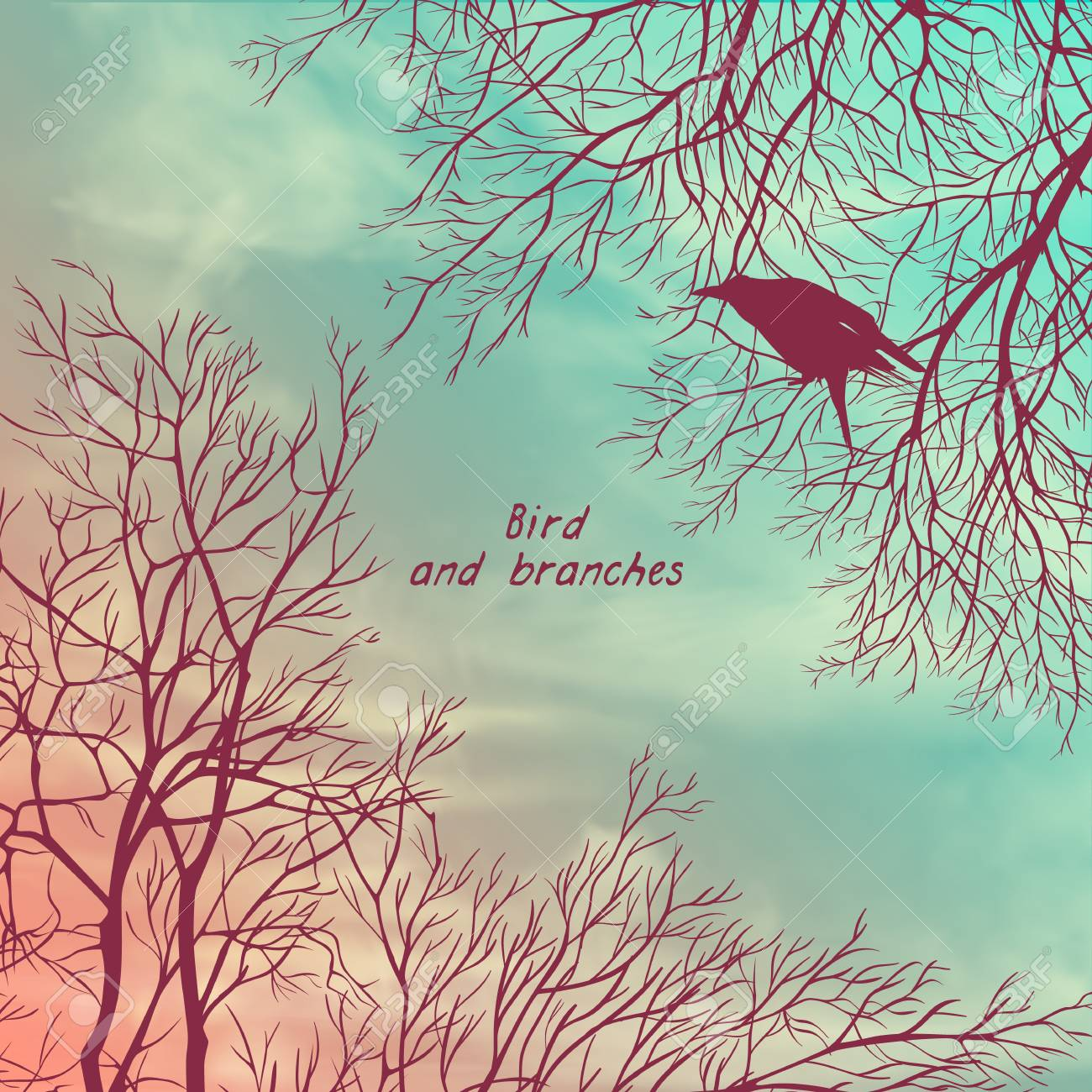 Square Banner With Crows And Tree Branches Template For Postcard