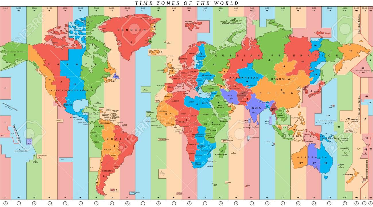 Carte Fuseaux Horaires Europe.Carte Du Monde Detaillee De Vecteur Avec Fuseaux Horaires