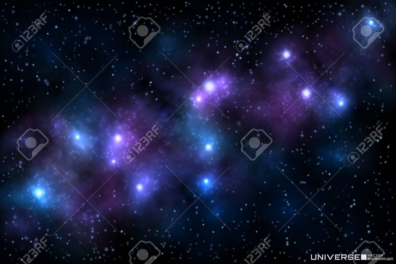 輝く星 宇宙の背景と現実的な美しい星雲のベクトルイラスト のイラスト素材 ベクタ Image