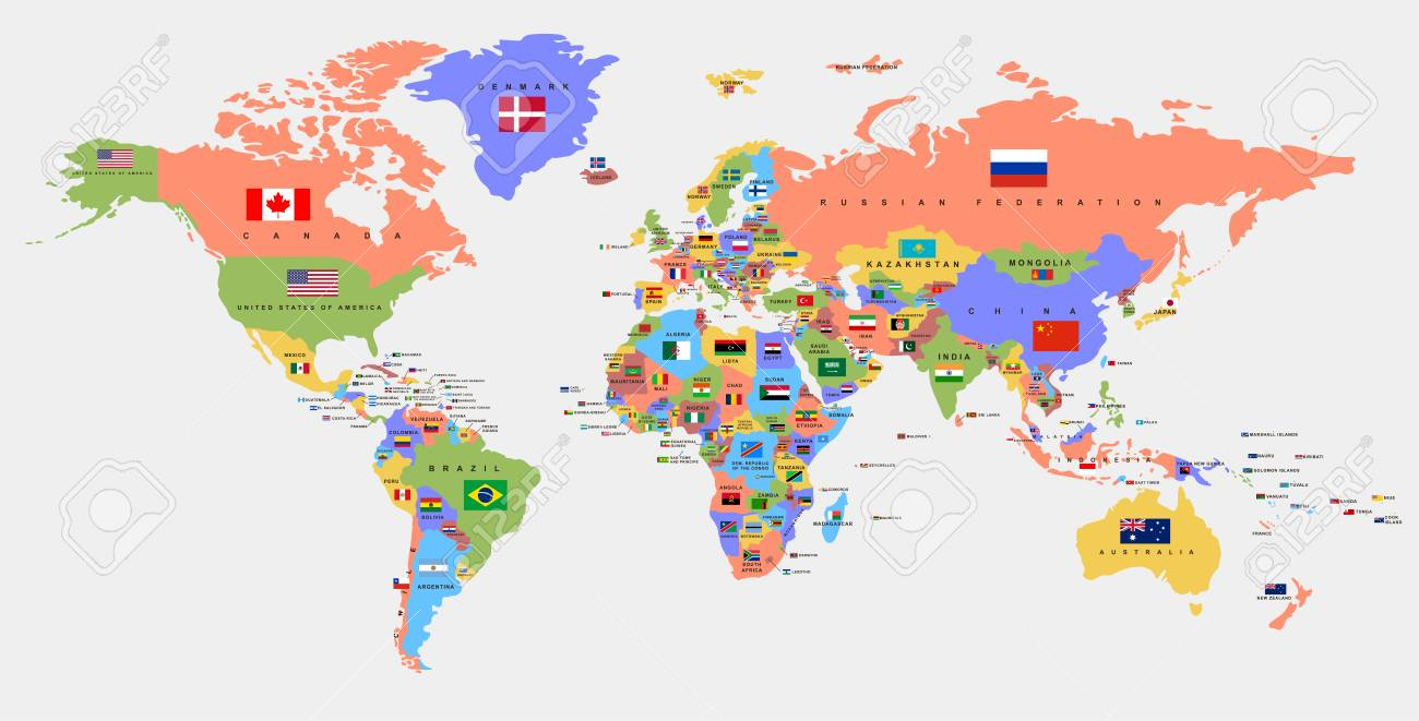 Color world map with the names of countries and national flags...