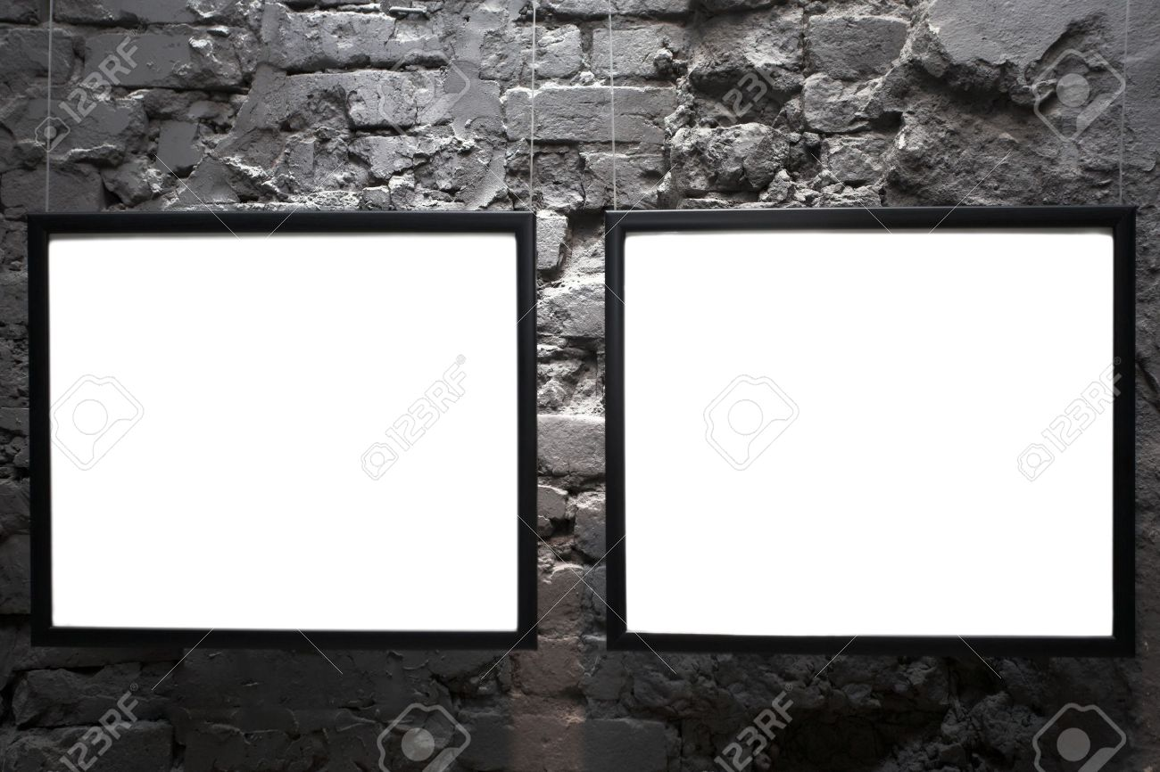 Two Empty Frames On Brick Wall In Museum Stock Photo Picture And