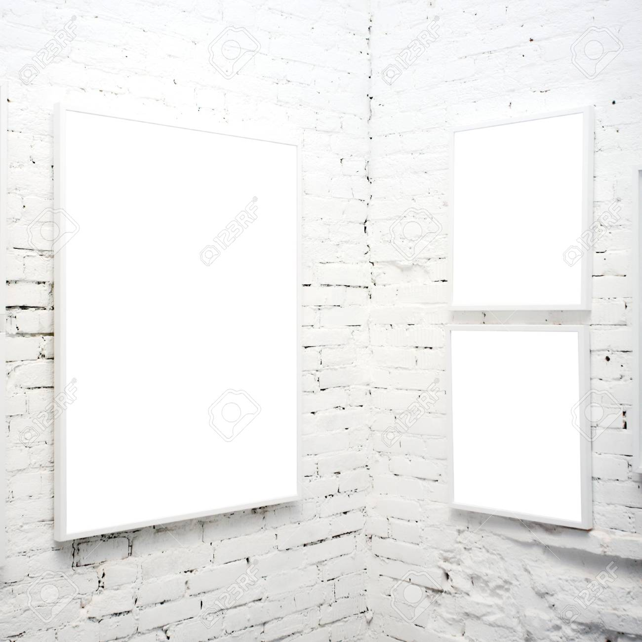 brick wall in museum with empty frames Stock Photo - 3235980