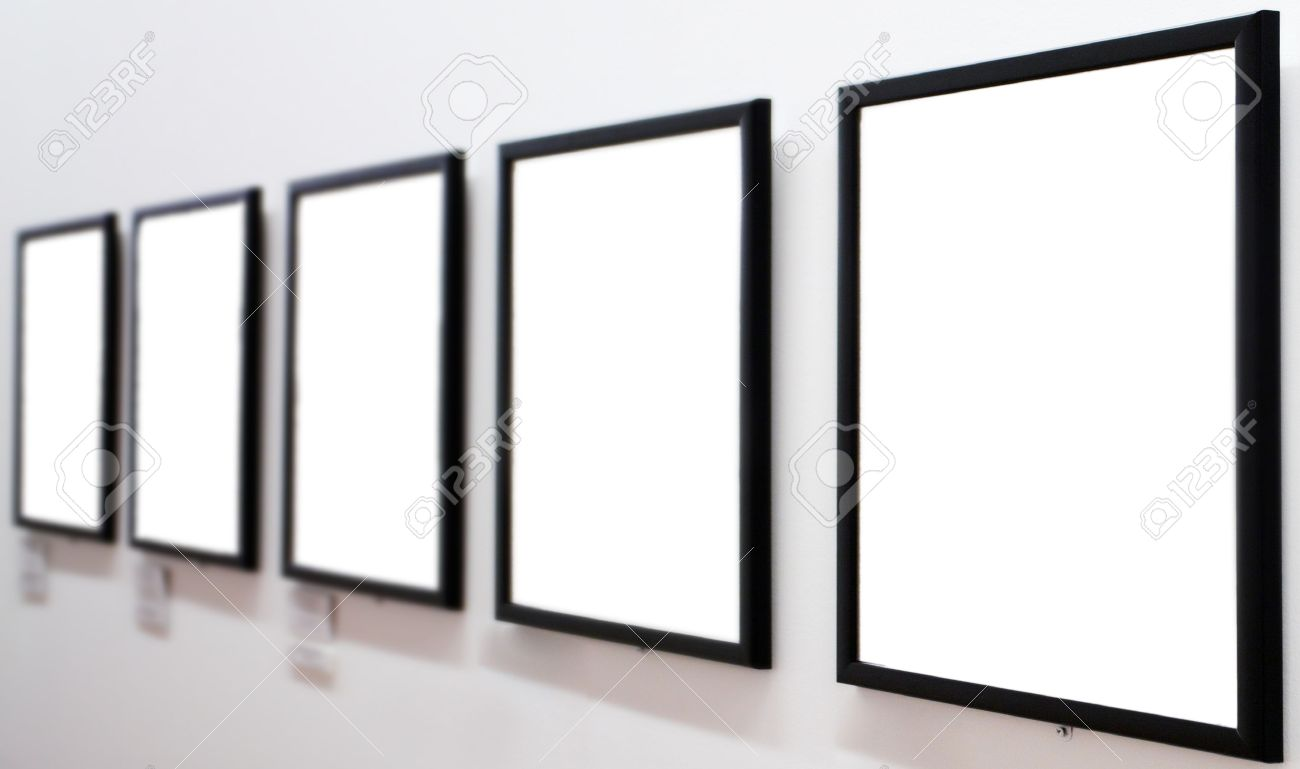 White Wall Frames empty frames on white wall in museum stock photo, picture and