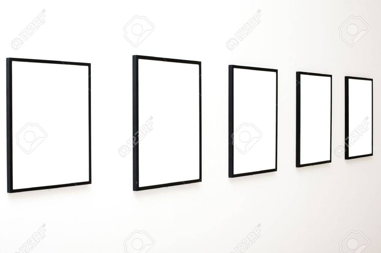 Five empty frames on white wall exhibition in museum stock photo five empty frames on white wall exhibition in museum stock photo 4008175 sciox Images