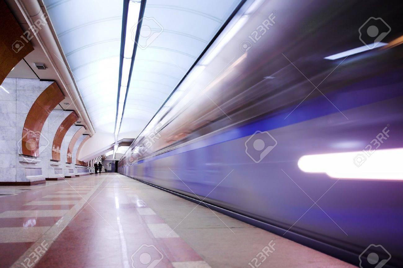 Moving train on underground station Stock Photo - 4392415