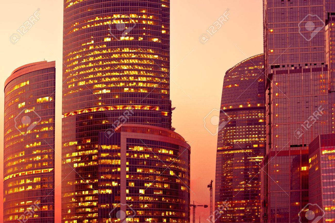 Sunset light on modern skyscrapers at evening Stock Photo - 5492406