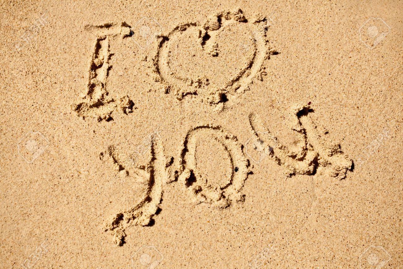 I love you sign on sand beach Stock Photo - 5989841
