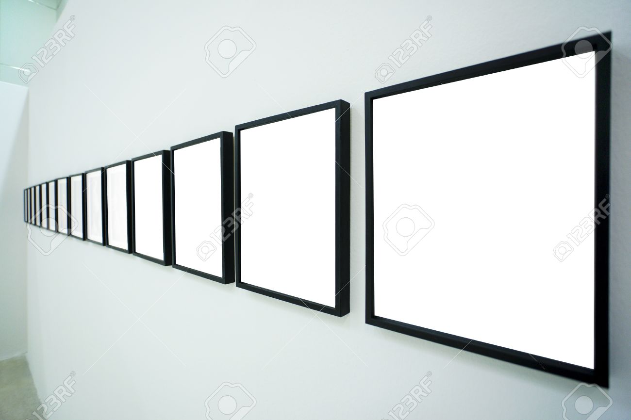 Nobody In The Museum Interior, Empty Frames Stock Photo, Picture And ...