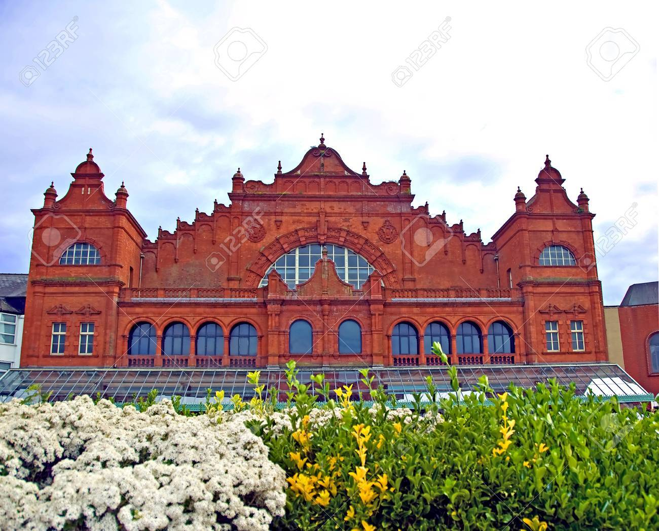 the ornate red brick facade of the winter gardens theatre in