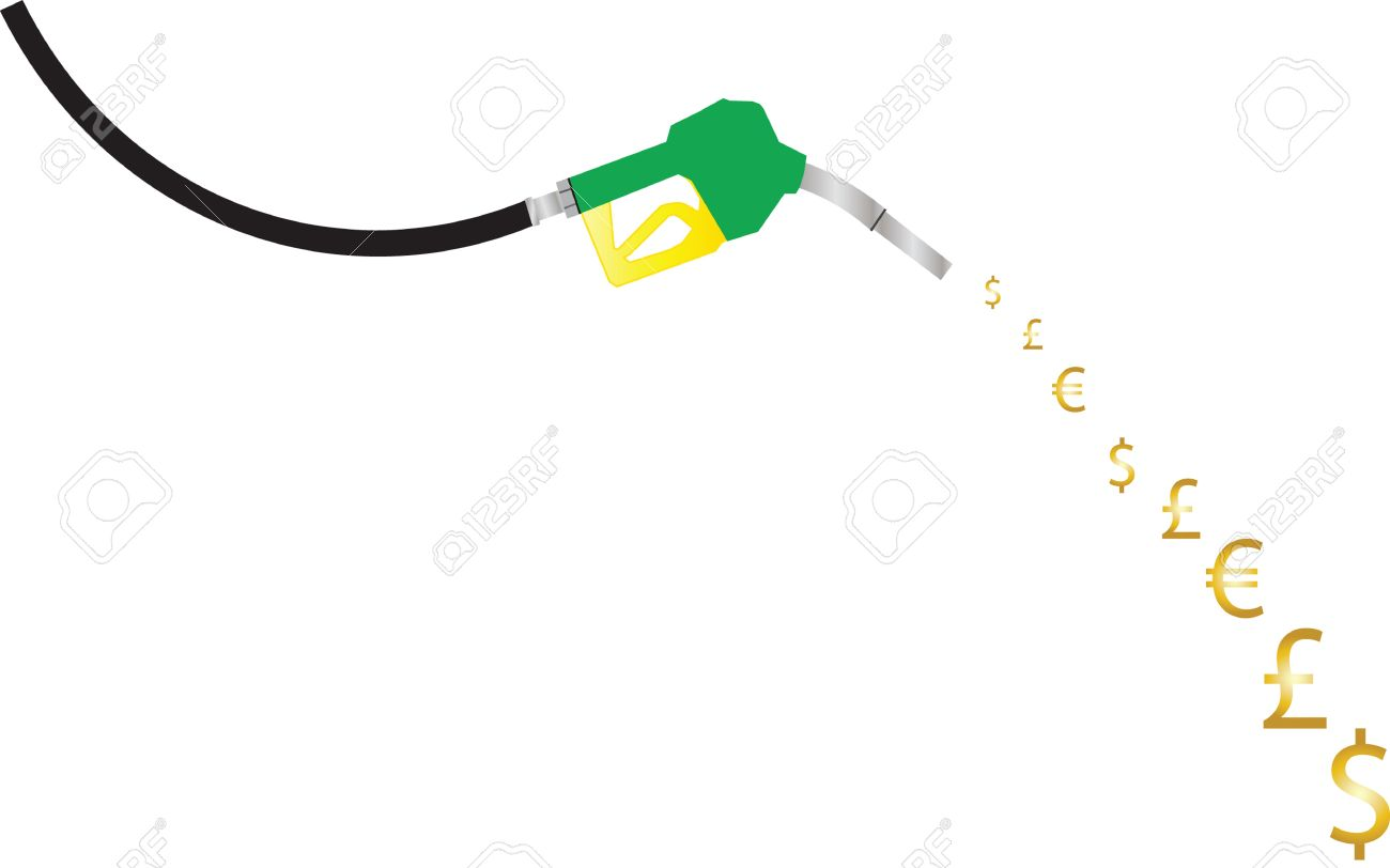 A Petrol Pump Nozzle pouring dollar euro and pound symbols concept of rising fuel prices Stock Vector - 10897323