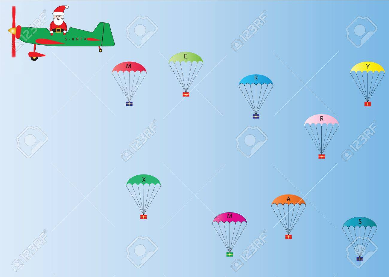 Vector Image of Father Christmas in a Green and Red Plane dropping Presents on Parachutes suitable for Gift Wrap or Greetings Cards Stock Vector - 10973138