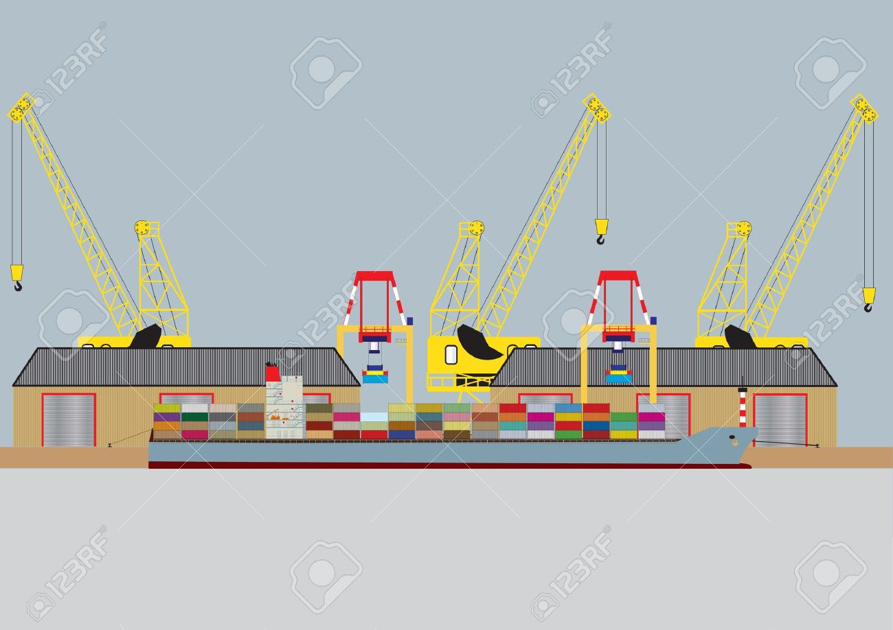 A vector image of a  Container Ship unloading in Harbour with Warehouses and Dock Cranes Stock Vector - 11569081