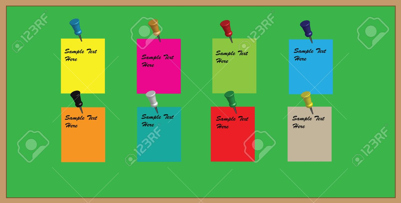 office pinboard. a vector green office noticeboard with reminder memos and pushpins editable text usable as background pinboard r