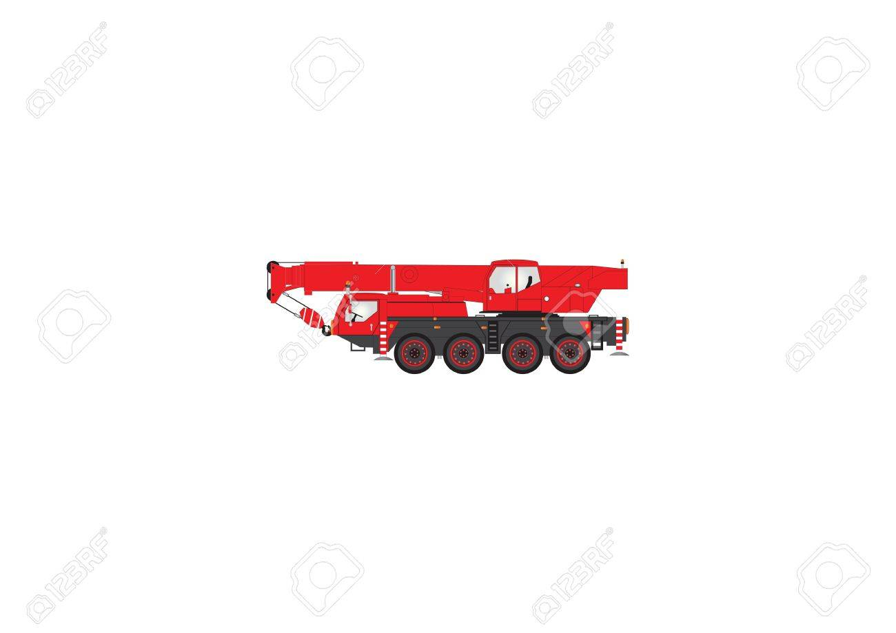A Vector Image of a Red and Black Four Wheeler Mobile Crane Stock Vector - 11889176