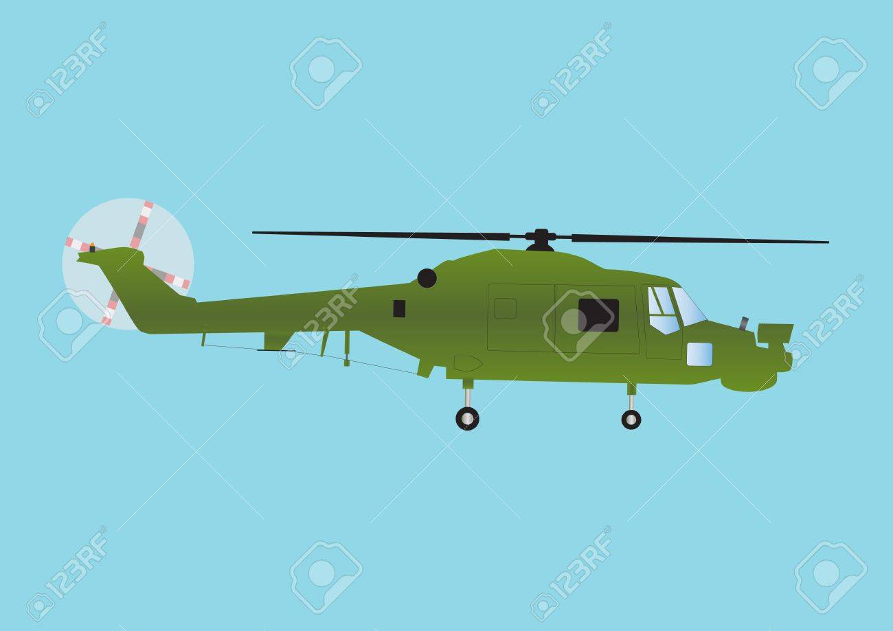 A Military Attack Helicopter in Olive Green Camouflage in Flight Stock Vector - 14534498