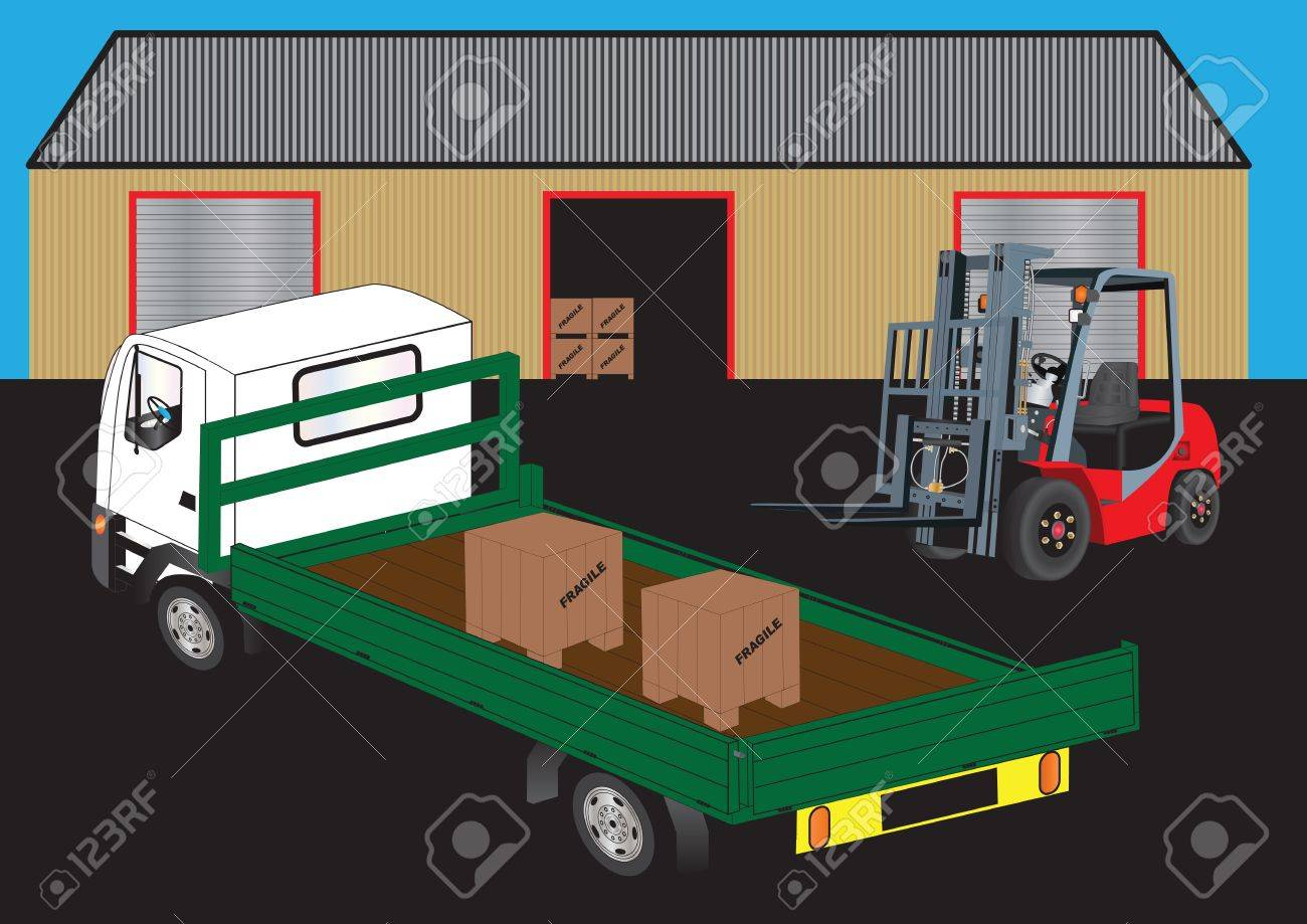 A Red Fork Lift Truck unloading a green flatbed truck outside a warehouse Stock Vector - 16059749