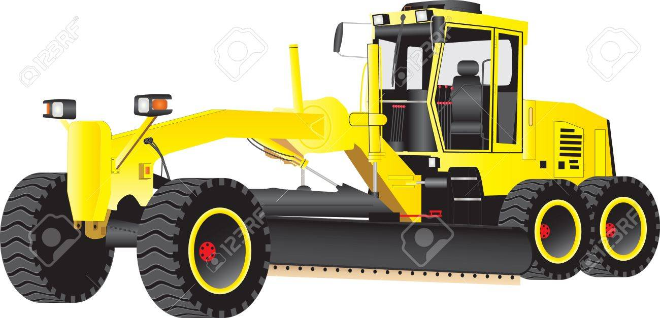 A Yellow Road Grading Machine isolated on  white Stock Vector - 16915692