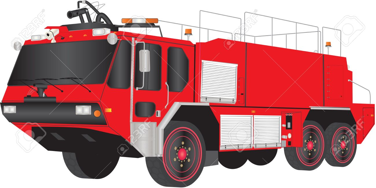 a red airport fire truck isolated on white royalty free cliparts rh 123rf com fire engine vector fire truck vector outline