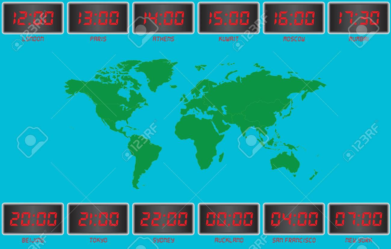 World Time On Digital Clocks London,Paris,Athens,Kuwait,Moscow ...