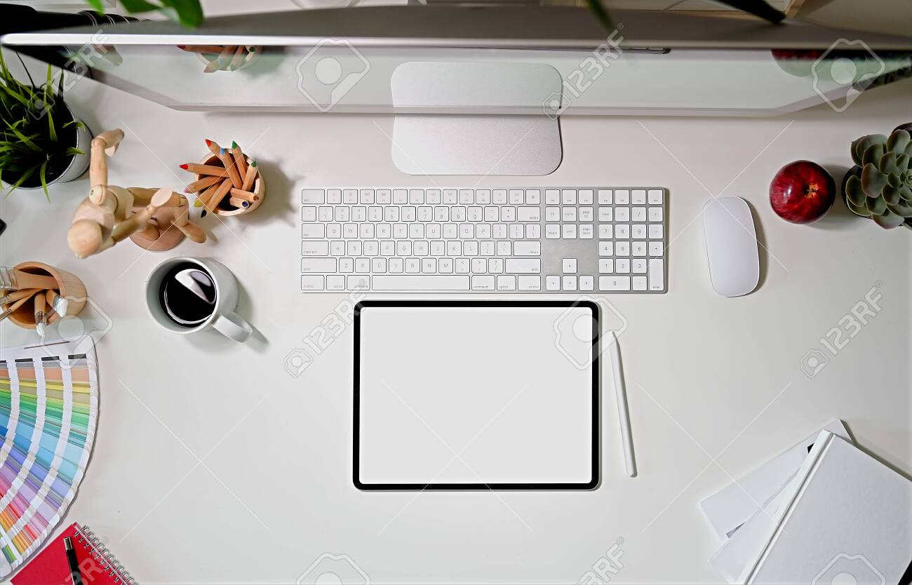 Top View Stylish Graphics Designer Workspace Desk Stock Photo Picture And Royalty Free Image Image 121273569