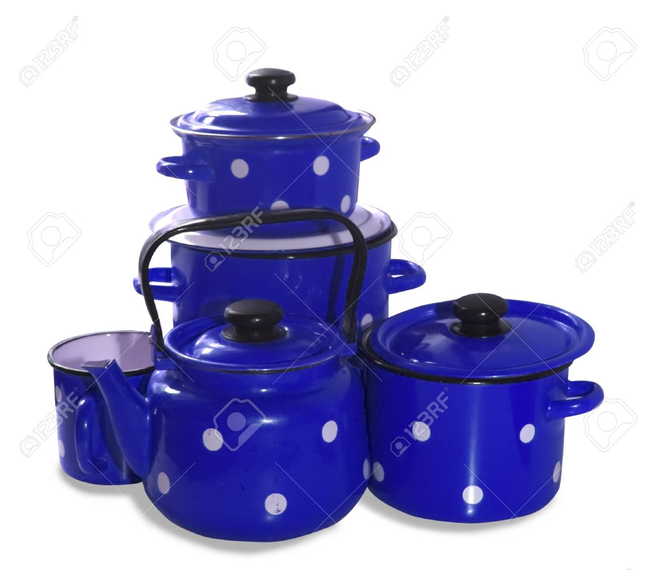 colored saucepans and  kettle . Isolate over white Stock Photo - 4445981