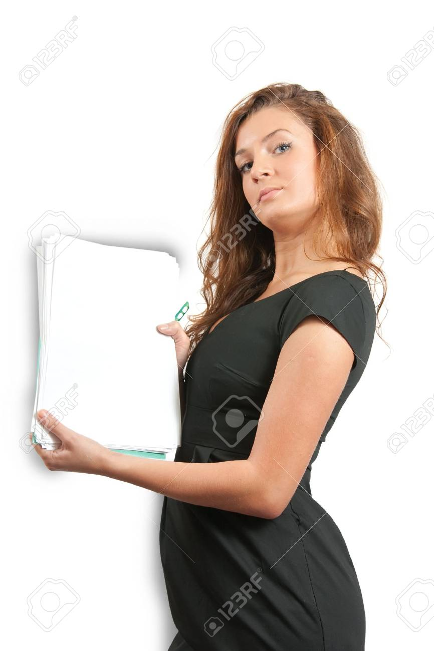 Young businesswoman with  documents over white background Stock Photo - 5945955